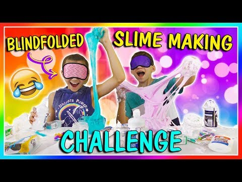 BLINDFOLDED SLIME MAKING CHALLENGE | We Are The Davises