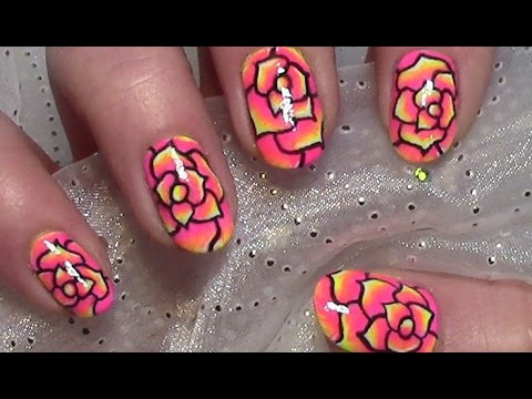 Rose Nail Art Design Cute Flower Nails Tutorial For Short Nails