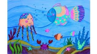 Уроки рисования для детей Как нарисовать МОРСКОЕ ДНО с помощью металика и неоновых цветов ARTBERRY
