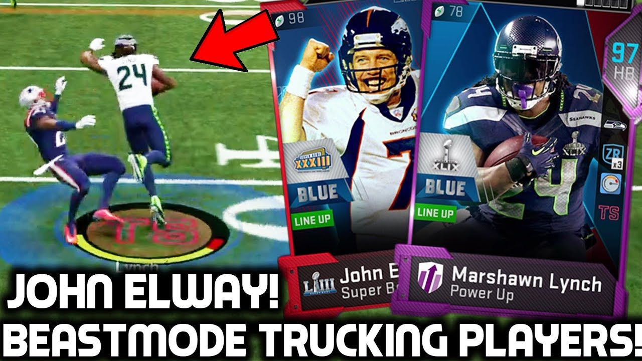 save off 9988e 06474 SUPER BOWL MARSHAWN LYNCH TRUCKING PLAYERS! John Elway! Madden 19 Ultimate  Team