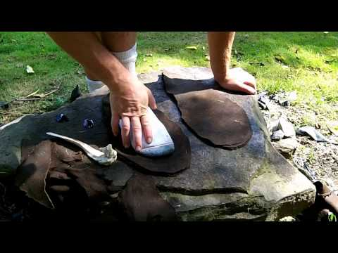 Making A Pair Of Puckered Toe Moccasin Boots With Natural Primitive Tools For Hunting And Stalking