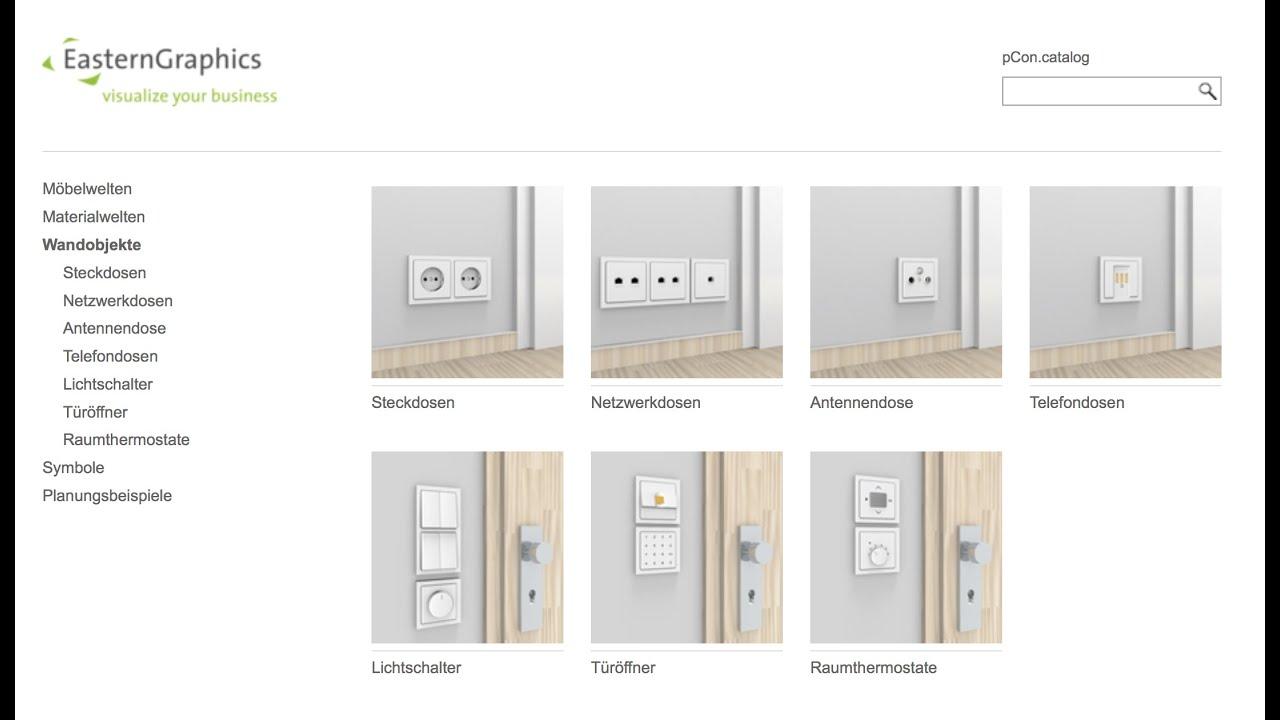 Steckdosen, Lichtschalter und andere Wandobjekte | pCon.planner ...