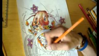 Tattoo Style Japanese Koi Fish Speed Drawing - Vincent Curwen