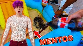 JUMPING INTO COKE POOL COVERED IN MENTOS