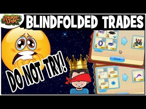 DOING BLINDFOLDED TRADES ON ANIMAL JAM - DO NOT TRY THIS!