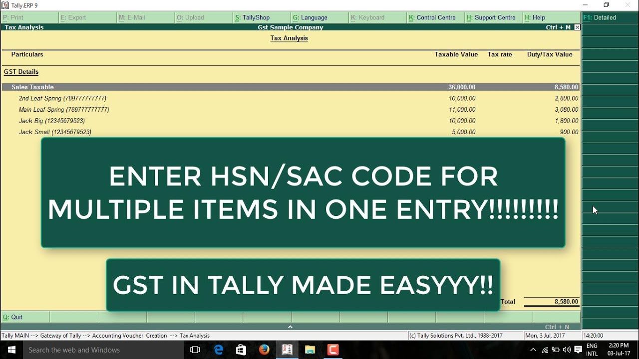 5f0cde3cdd6e HOW TO ENTER HSN  SAC CODE IN TALLY FOR MULTIPLE STOCK ITEMS AT ONE TIME  WITH PRINTOUT