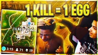 1 KILL=1 SMACK WITH AN EGG IN THE FACE BY BROTHER IN FORTNITE!MY BRO GETS 19 KILLS DURING CHALLENGE?