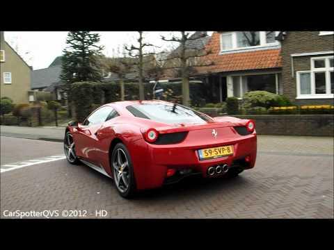 Ferrari 458 Italia - lovely start up sound & driving away! (720p HD)