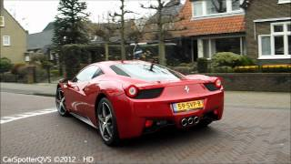 Ferrari 458 Italia - lovely start up sound & driving away! (720p HD)