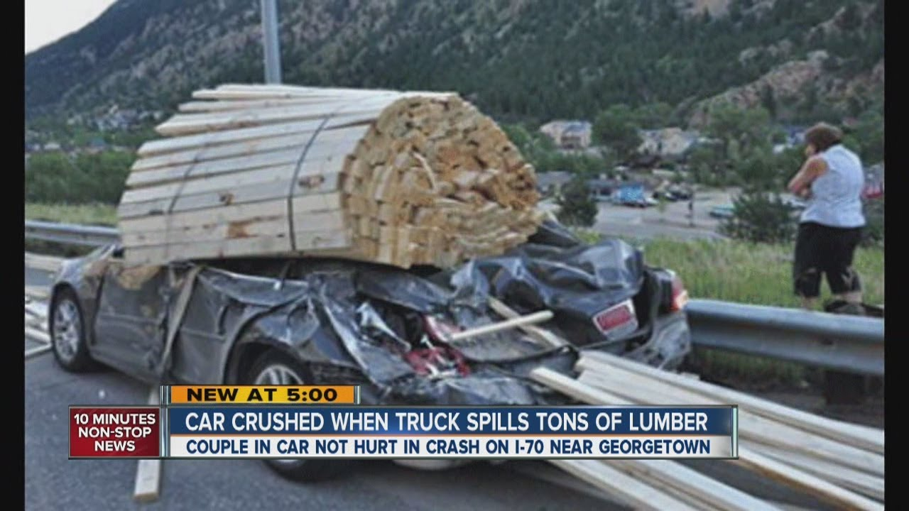 Couiple Survives Car Being Crushed By Lumber On Highway