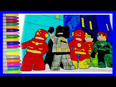 Batman Lego colouring pages.How to color Batman, flash, iron man, robin and green lantern