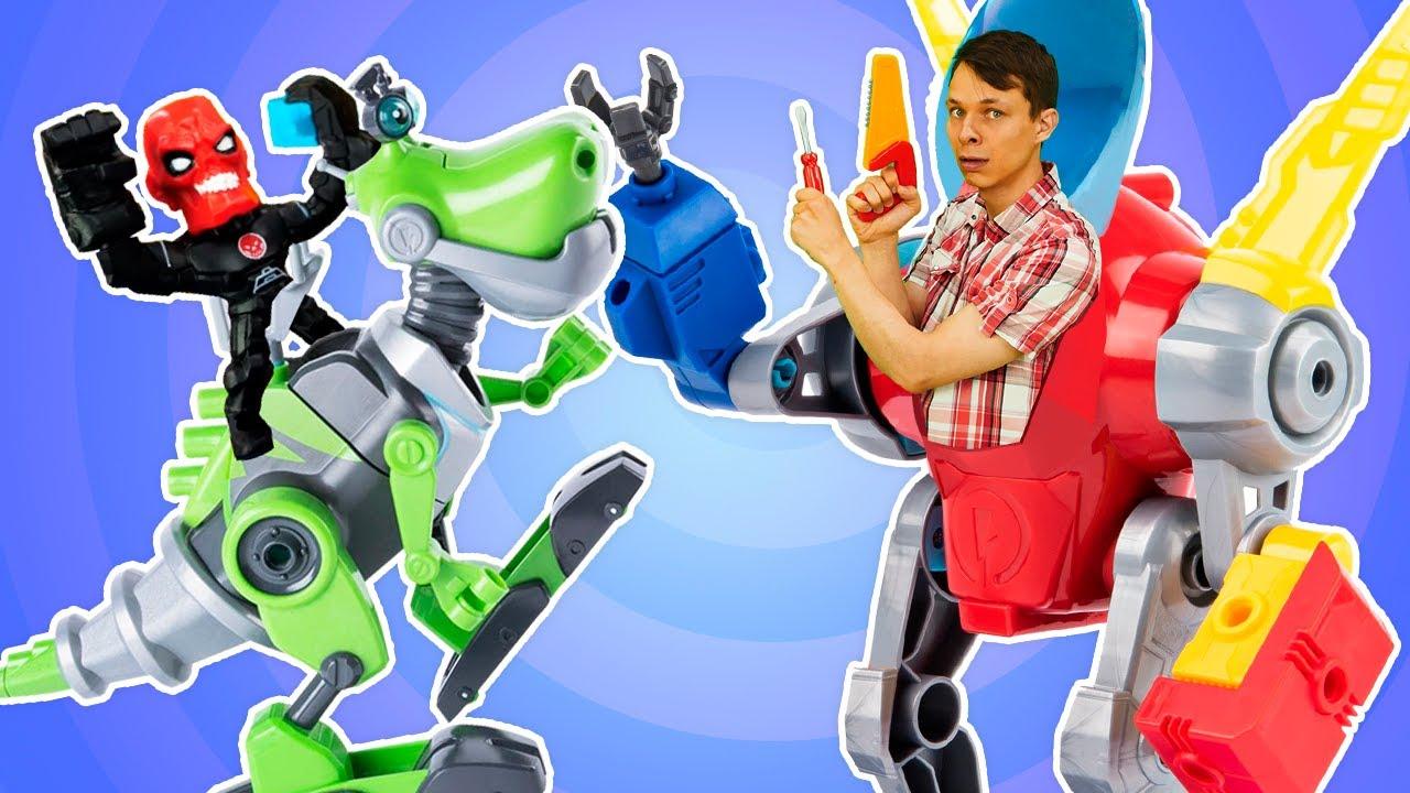 Видео игры - Супергерои и Роботы в Автомастерской! - Прокачиваем машину Халка и собираем Динозавра.