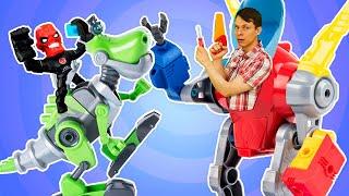 Видео игры онлайн - Фёдор собирает Динозавра Расти Механика - Супергерои и Роботы в Автомастерской.