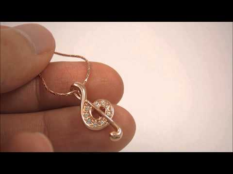 (ITALINA) Buy to Help Others - MUSIC NOTE Pendant Necklace - Rose Gold Plated Music Themed Necklace