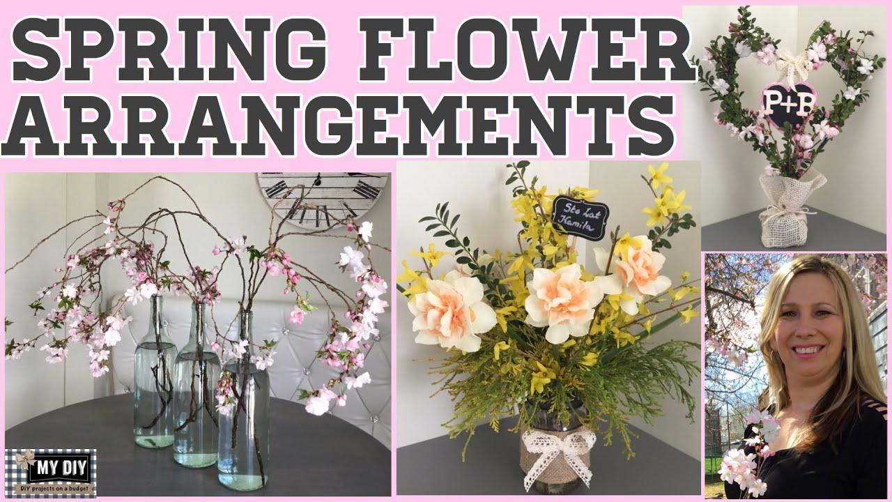 Spring Flower Arrangements Cherry Blossom Arrangement Cheap Easy Youtube