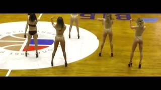 "Russian cheerleaders ""gone bad"" at a valleyball game opening ceremony"