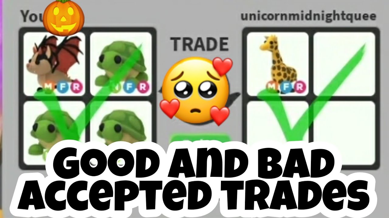 My Good And Bad Accepted Trades In Adopt Me Trading And Giveaway