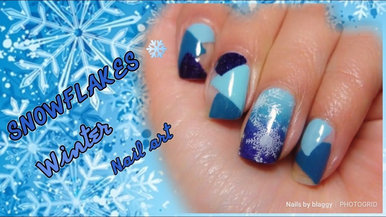 ❄ Snowflake blue Winter Nail art Design ❄