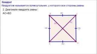 Геометрия 8 класс. Квадрат