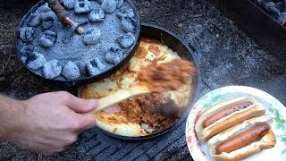 Home Made Chili With Hot Dogs & Corn Bread Lodge #12 Camp Dutch Oven!