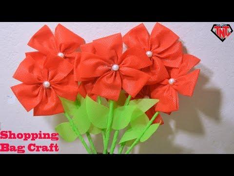 How To Make Fabric Bag Flower Stick || DIY Shopping Bags Flower