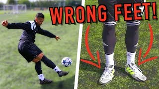 CRAZY FOOTBALL BOOTS ON THE WRONG FEET EXPERIMENT! thumbnail
