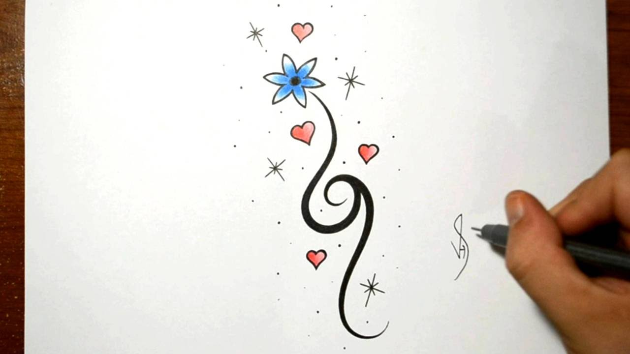 How To Draw A Simple Flower Design With Hearts Youtube