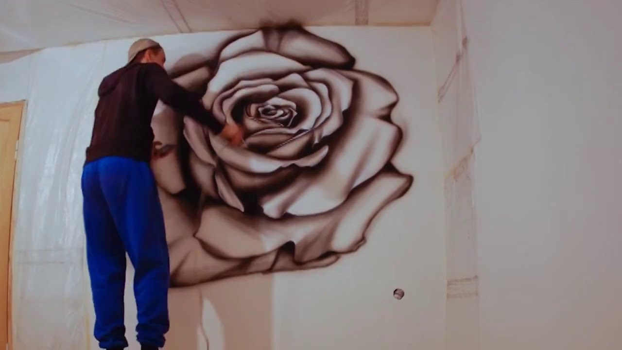 Wall painting airbrushing red rose