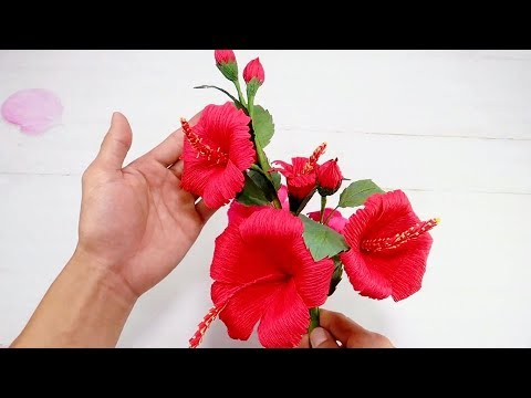 Crepe Paper Flower - How To Make Hibiscus Flower From Crepe Paper Tutorial | Creative DIY