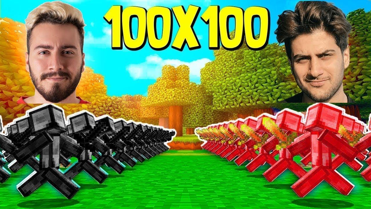 100 Enes Batur Ordusu Vs 100 Reynmen Ordusu Minecraft Youtube