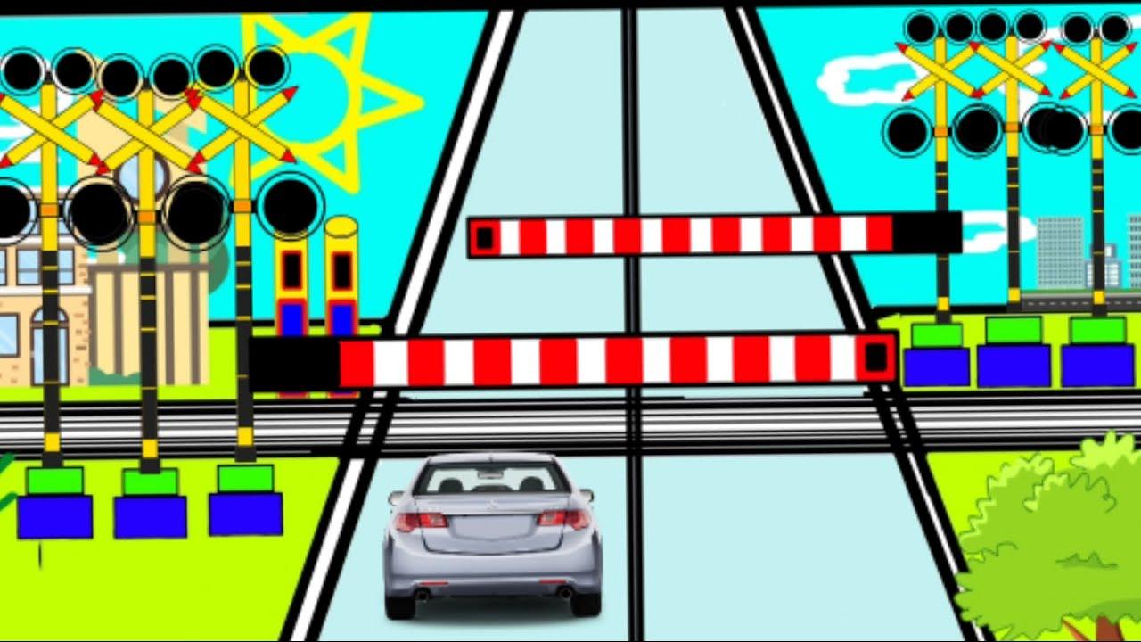 Download Palang pintu kereta api kartun ada banyak - Palang perlintasan kereta api panjang railroad crossing