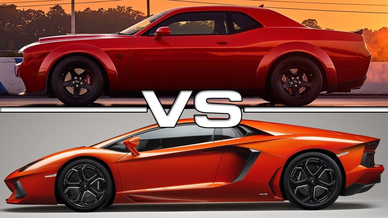 2018 Dodge Challenger Srt Demon Vs Lamborghini Aventador Sv Youtube