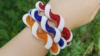 Spiral Beaded Plait/Beaded bracelet/Спираль из бисера/Жгут мозаичным плетением/Жгут из бисера