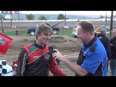 Tyler Walton in victory lane at Path Valley Speedway on 10/11/15