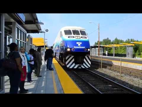 Sound Transit : Lakewood Bound 7-Car Sounder Train Of BiLevels With EMD F59PHI 904 @ Tukwila Station