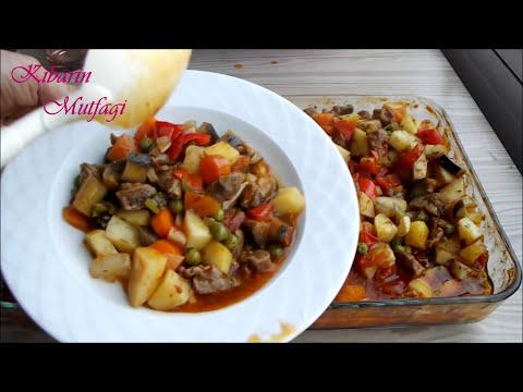 Fırında Kolay Etli Sebze Kebabı Tarifi - Etli Sebze Kebabı Nasıl Yapılır