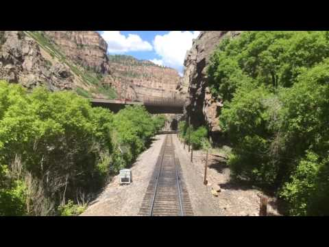 Westbound through Glenwood Canyon from the rear car aboard Amtrak, June 2017