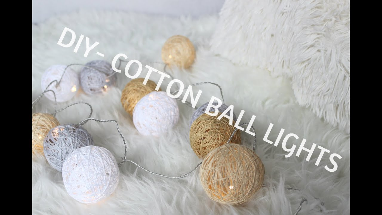 diy jak zrobi cotton ball lights youtube. Black Bedroom Furniture Sets. Home Design Ideas