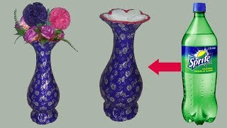 plastic bottle flower vase ||how to make flower vase with plasic bottle ||dustu pakhe