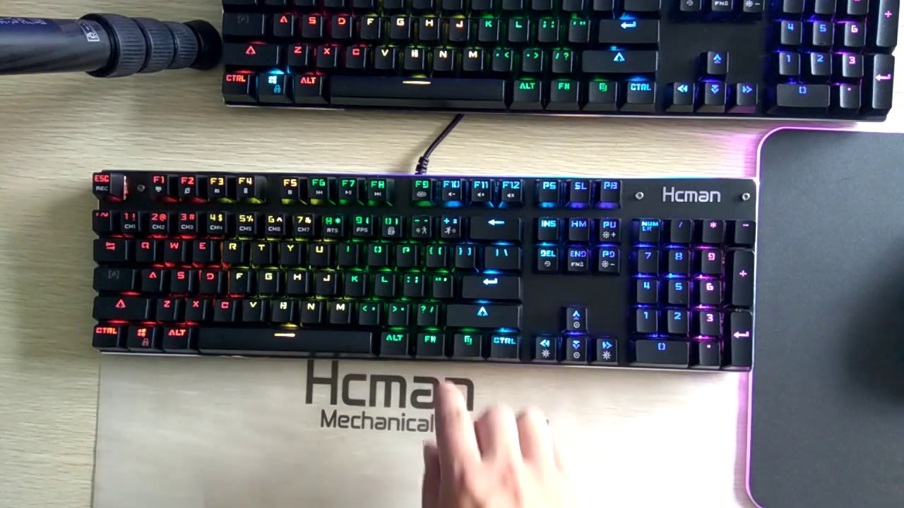 effa21ef933 RGB LED Mechanical Gaming Keyboard Hcman Blacklit 104 Keyboard - YouTube