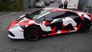 Lamborghini Huracan wrapped in red camo