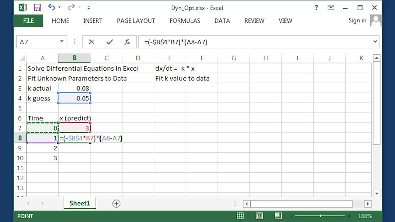 Euler's Method for ODEs in Excel