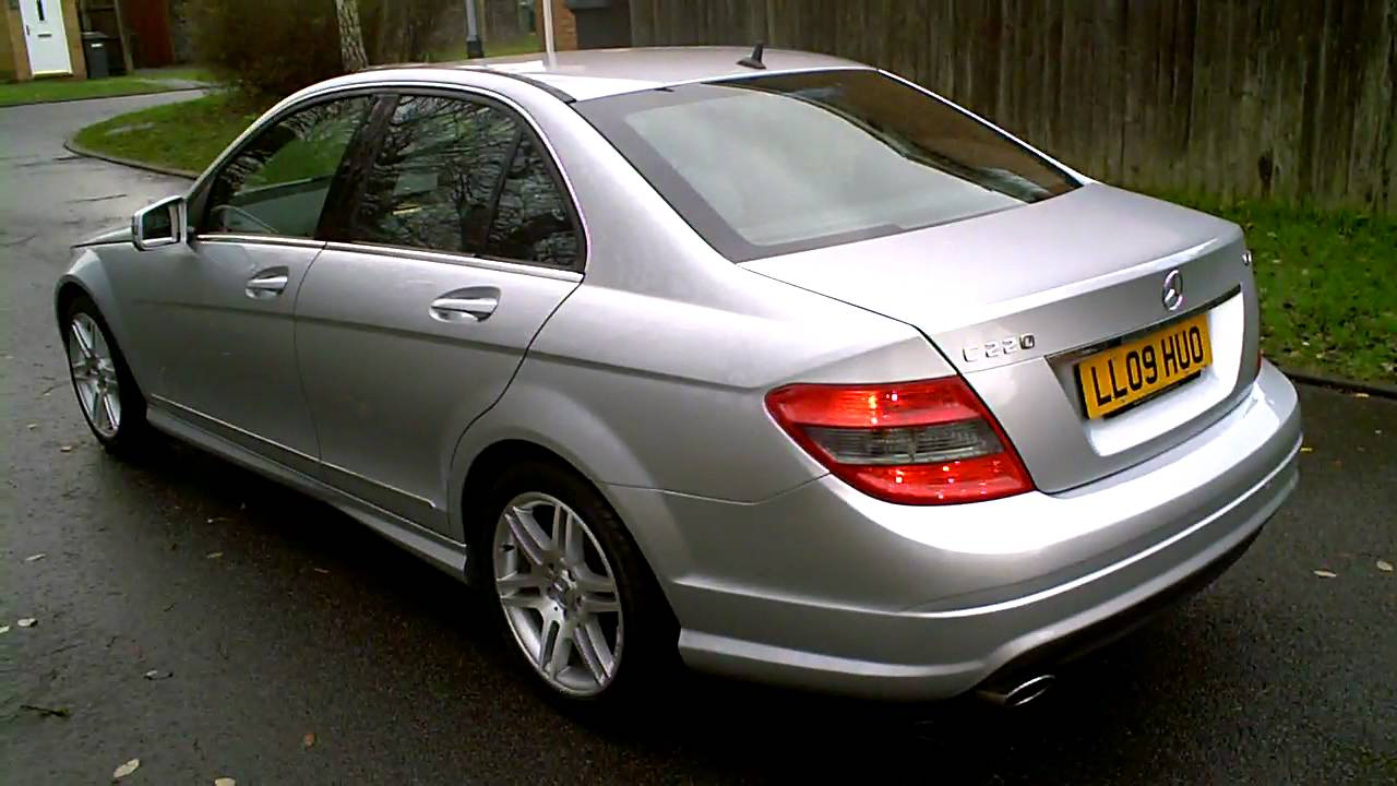2009 mercedes c220 cdi amg sport saloon auto silver mercland youtube. Black Bedroom Furniture Sets. Home Design Ideas