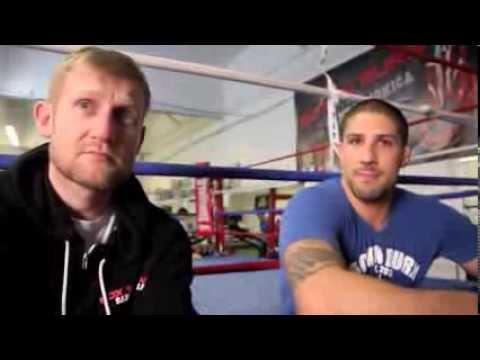 UFC HEAVYWEIGHT BRENDAN SCHAUB WITH TONY JEFFRIES TALK TO KUGAN CASSIUS @ BOX 'N BURN L.A
