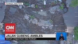 Download Video Penampakan Jalan Gubeng Surabaya Ambles dari Udara MP3 3GP MP4