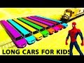 COLOR LONG CARS and Spiderman Cars Cartoon for Kids w Children Nursery Rhymes Songs