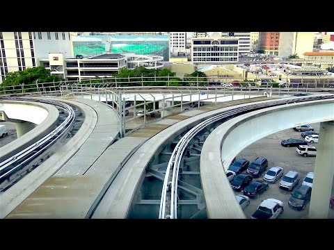 ⁴ᴷ Miami Metromover Brickell Line Footage - Financial District-Bayfront Park