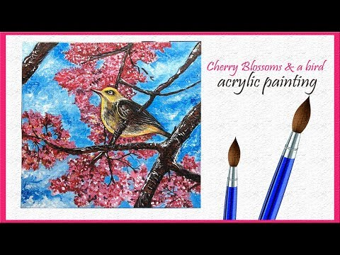 Cherry blossom flower | bird painting | canvas art | acrylic painting demo