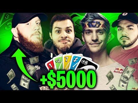 I MADE $5000 PLAYING UNO... NINJASHYPER IS BACK?! UNO W/ NINJA, MARCEL & COURAGE
