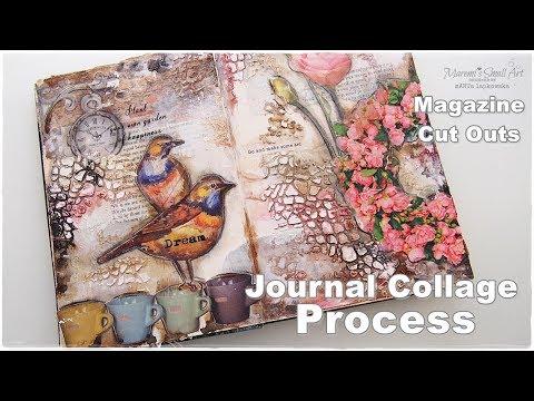 Journal Collage Process using Magazine Cut Outs ♡ Maremi's Small Art ♡